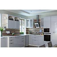 Кухня угловая «СОФИЯ»   фасад Люкс   цвет: серый глянец Sokme