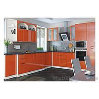 Кухня угловая «СОФИЯ»   фасад Люкс   цвет: оранж глянец Sokme