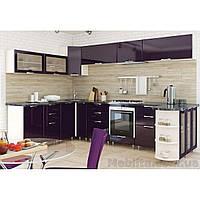 Кухня угловая «СОФИЯ»   фасад Люкс   цвет: фиолет темный глянец Sokme