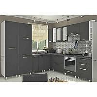 Кухня угловая «СОФИЯ»   фасад Престиж супермат   цвет: серый супермат Sokme