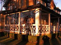 Мягкие окна ПВХ для большой деревянной террасы