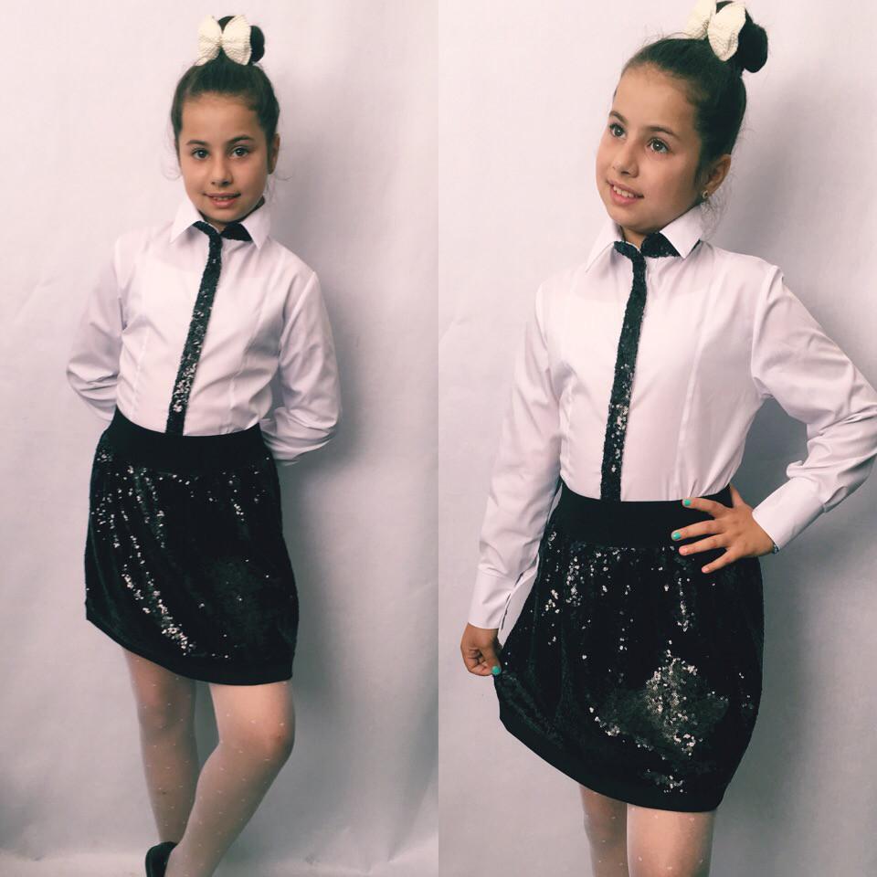 Школьная блузка детская белая декор пайетка размер: 122, 128, 134, 140, 146