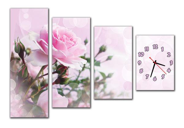Часы на стену модульные роза m 58 (30х87 30х72 30х58 30х44)