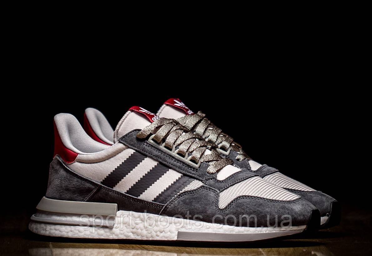 on sale bb48b d4473 Оригинальные мужские кроссовки ADIDAS ZX 500 RM BOOST GREY FOUR WHITE  SCARLET