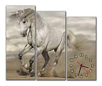 Часы на стену модульные с лошадью m 61 (30х78 30х72 30х66)