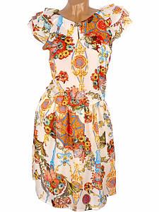 Цветочное шифоновое платье миди 42р