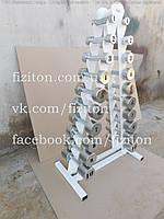 Профессиональный гантельный ряд 1-10 кг полностью оцинкованный + стойка, фото 1