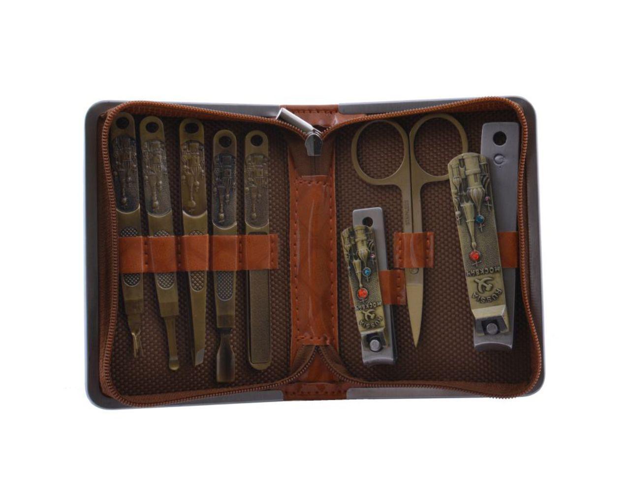 Маникюрный набор №3813, 8 предметов, искусственная кожа.