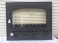 """Дверцы для камина печи барбекю 575х485 мм. """"панорама"""" Печная дверца со стеклом"""