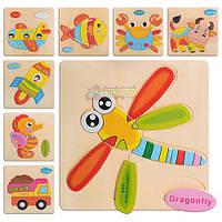 Деревянная игрушка Пазлы для малышей Пазл Вкладыш, MD 0689, 001135