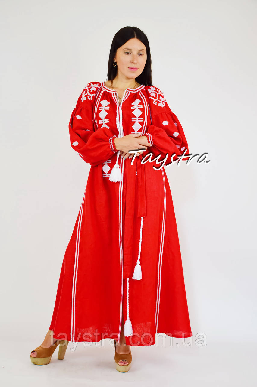 40b92b8ee05fba Бохо Платье вышиванка, этно бохо кантри стиль, вишите плаття вишиванка,  красное платье лен