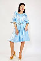 Голубое бохо платье вышиванка лен, этно стиль кантри, вишите плаття вишиванка, платье лен