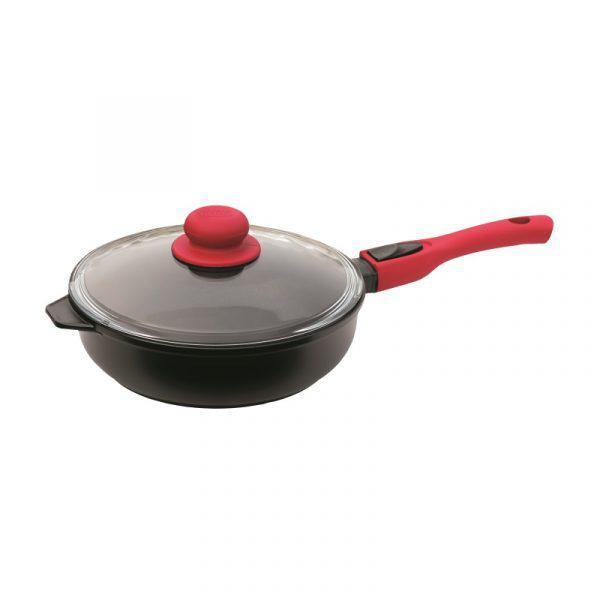 Сковорода Биол Титанал с крышкой и съемной ручкой 26 см. 2606ПС