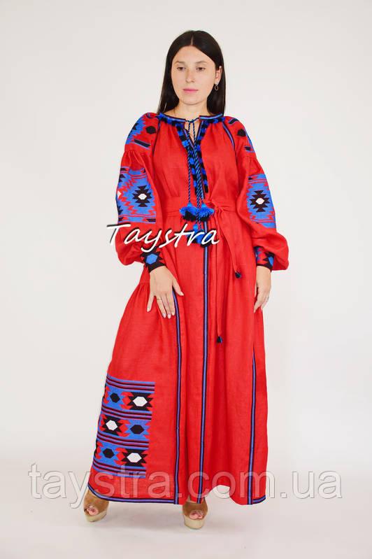 Вышиванка платье лен этно стиль кантри, вишите плаття вишиванка стиль Вита Кин