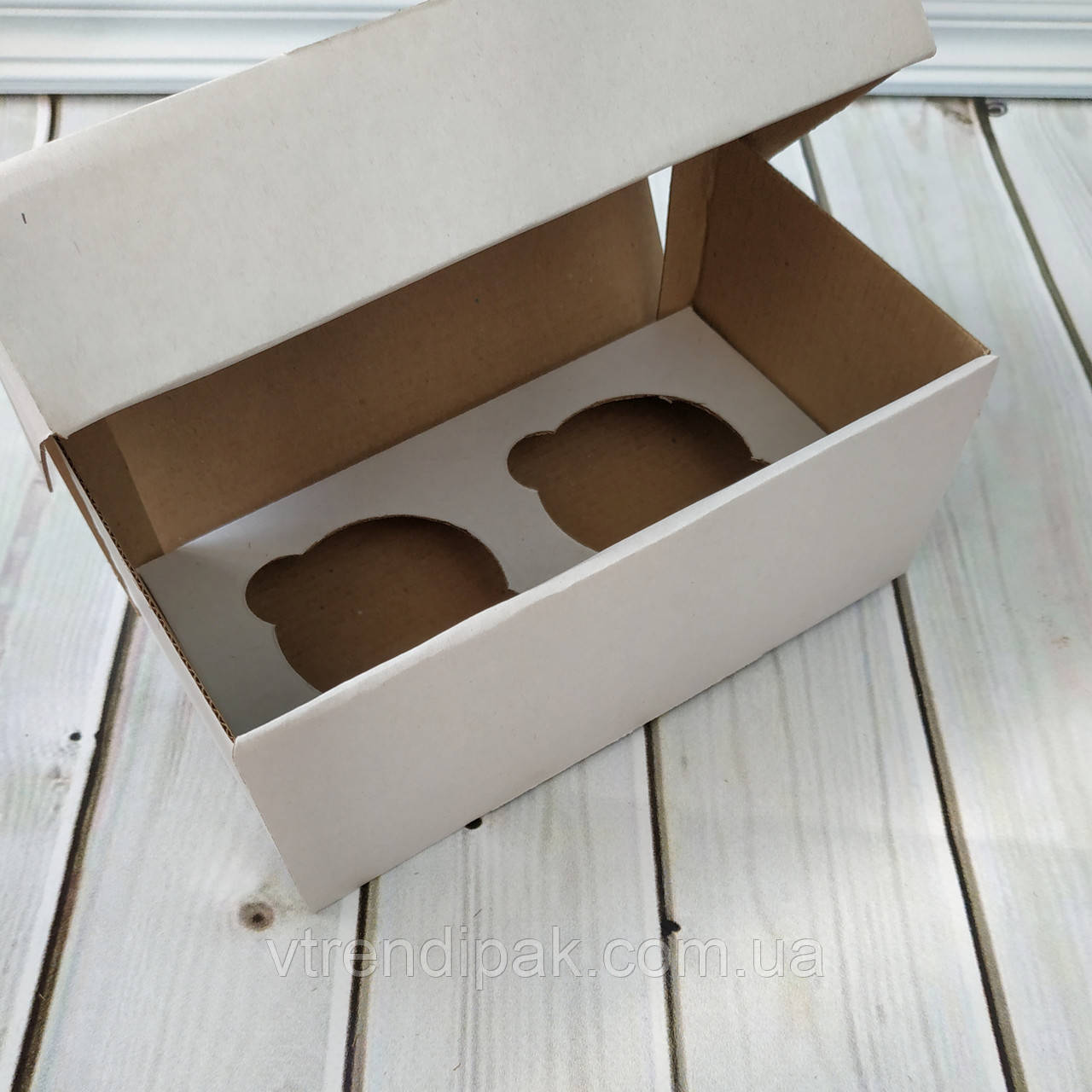 Коробка для 2 кексів, мафінів, капкейків 195*100*80