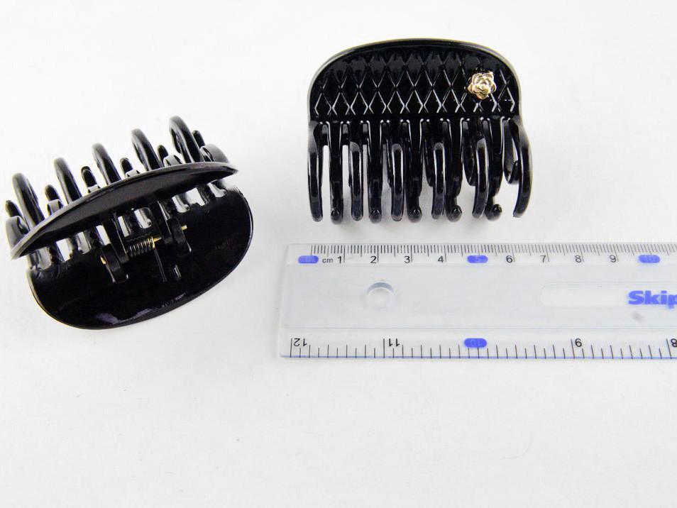 Шпилька для волосся краб чорний лак