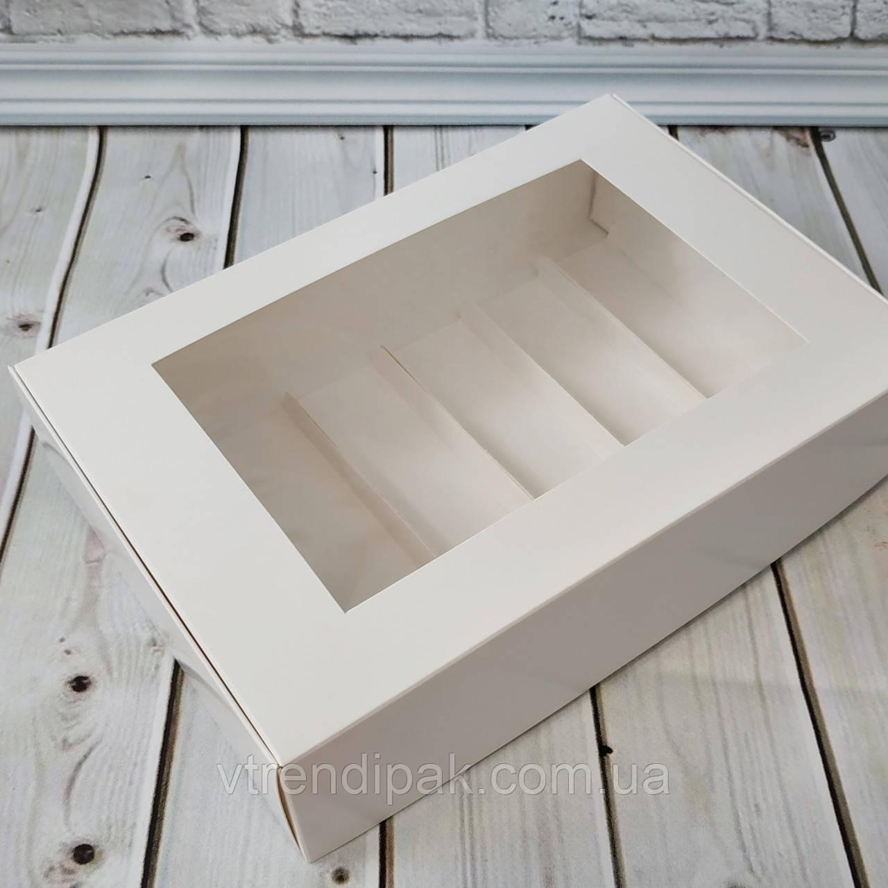 Коробка для 6 еклерів 265*180*65 з мелованого картону з вікном ПВХ-плівка зі вставками