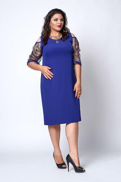 1e170ecfc0b3892 Красивое женское платье больших размеров ярко-синего цвета - Стильный бум в  Киеве