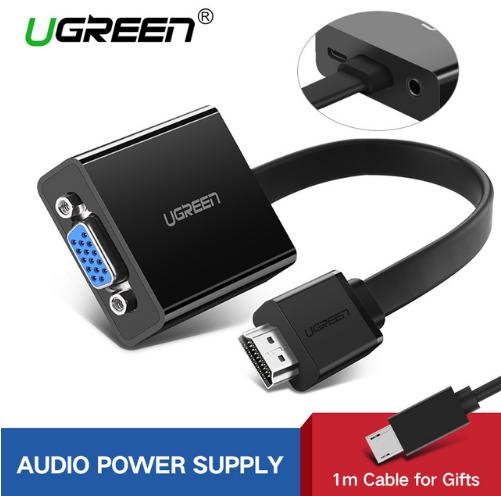 Ugreen Конвертер HDMI в VGA + micro usb и 3.5мм разъемы