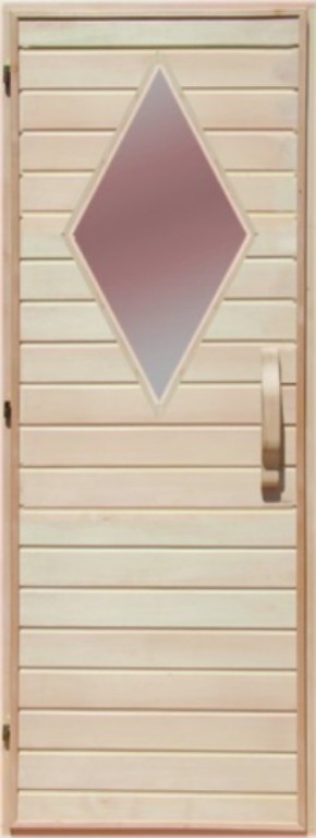 Деревянная дверь со стеклом для сауны Украина 70х200 липа