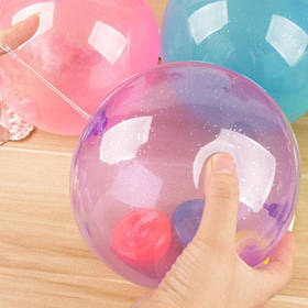 Надувной шар Jelly balloon ball светится в темноте + насадка для надувания, имеет клапан регулирования размера