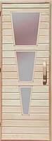Деревянная дверь со стеклом для сауны Украина 80х200 липа (вариант 2)