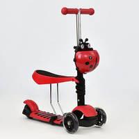 Самокат А 24677 - 3040 Best Scooter 5 в 1   цвет красный  колеса PU светящиеся KK