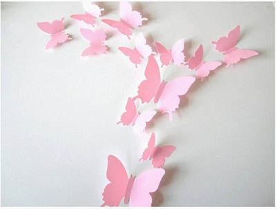 Интерьерные 3D Бабочки Зеркальные розовые, 12 шт/уп