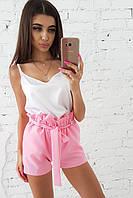 Комплект: Розовые шорты с оборкой и белая шелковая майка