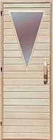 Деревянная дверь со стеклом для сауны Украина 80х190 липа