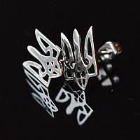 Сережки Тризуб серебро 925 (серьги тризуб)