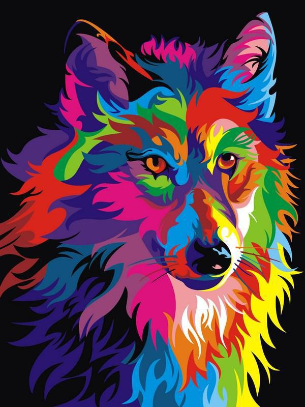 Картина по номерам Радужный волк. Худ. Ваю Ромдони, 30x40 см., Babylon