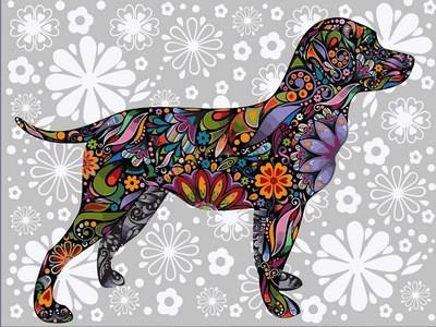 Картина по номерам Цветочный пес, 30x40 см., Babylon