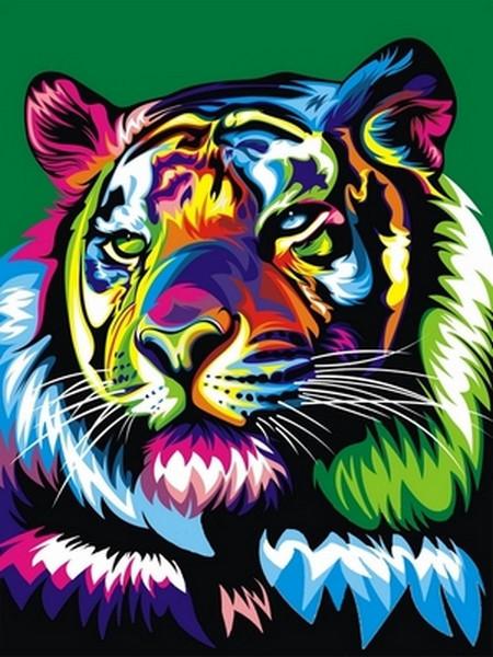 Картина по номерам Радужный тигр, 30x40 см., Babylon
