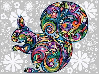 Картина по номерам Цветочная белка, 30x40 см., Babylon