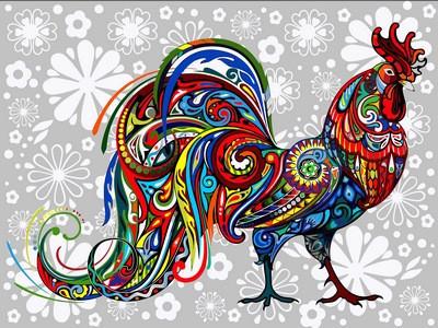 Картина по номерам Цветочный петух, 30x40 см., Babylon