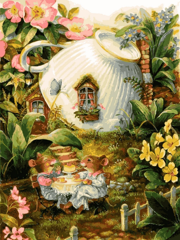 Картина по номерам Мышиный домик, 30x40 см., Babylon