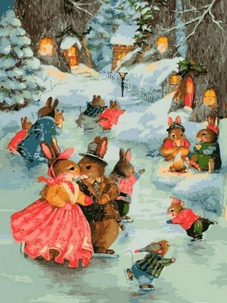 Картина по номерам Рождественская прогулка, 30x40 см., Babylon