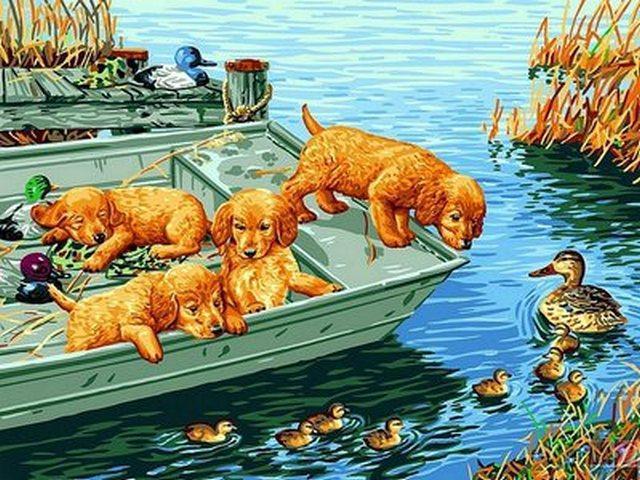 Картина по номерам Любопытные щенки, 30x40 см., Babylon