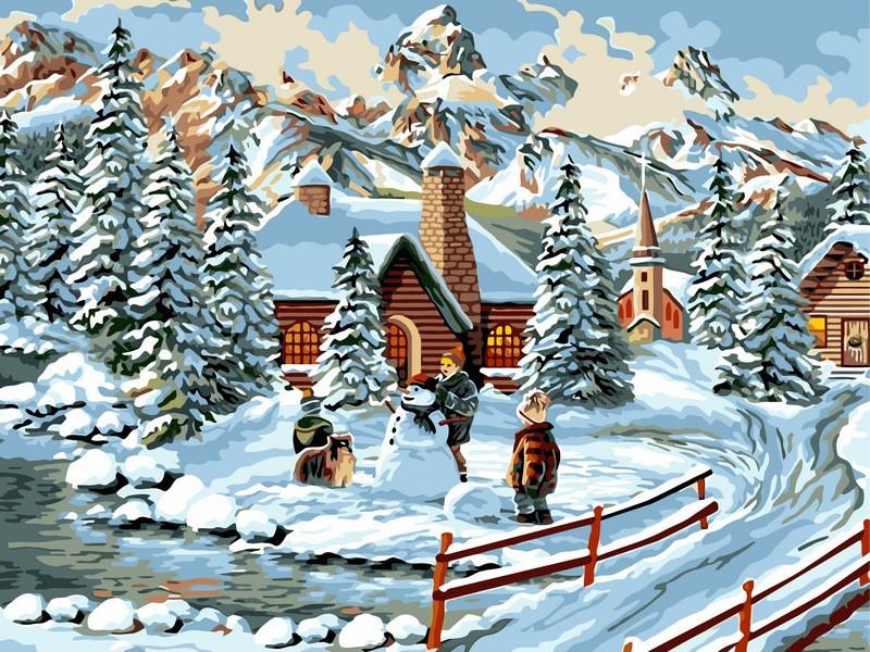 Картина по номерам Зимние каникулы, 30x40 см., Babylon
