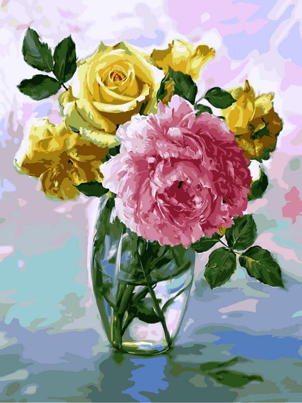 Картина по номерам Букет с розовым пионом. Худ. Игорь Бузин, 30x40 см., Babylon