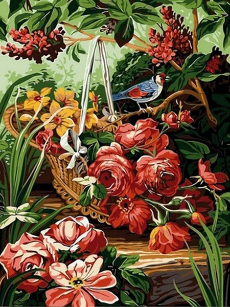Картина по номерам Корзинка с розами, 30x40 см., Babylon