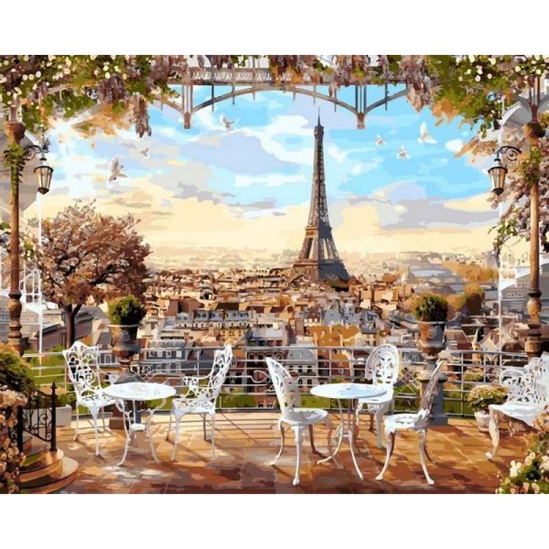 Картина по номерам  Кафе с видом на Эйфелеву башню, 40x50 см., Babylon