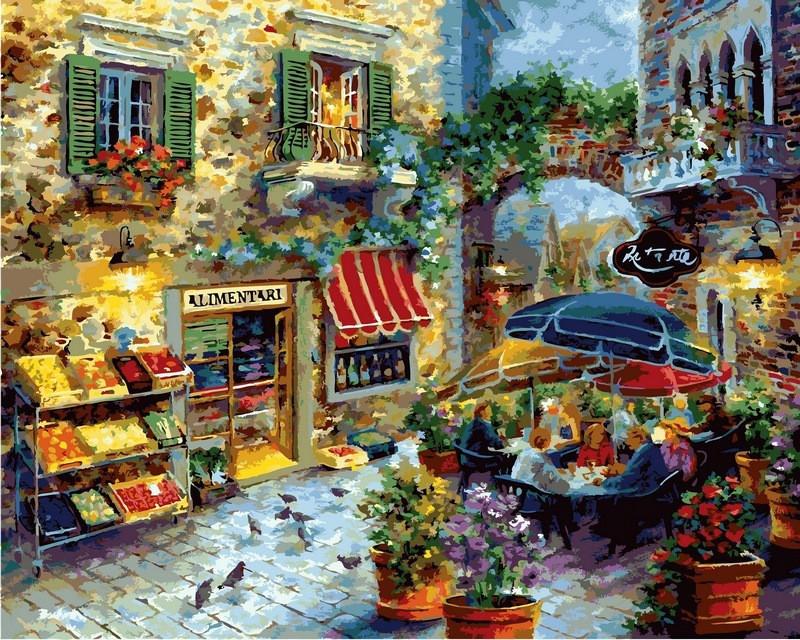 Картина по номерам Летнее кафе. Худ. Никки Боэм,40x50 см., Babylon