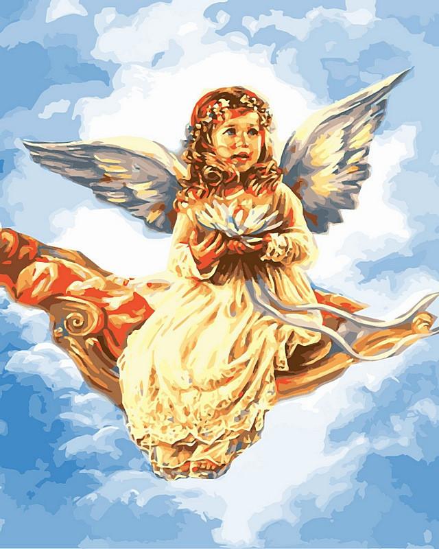 Картина по номерам Ангелочек с цветком лотоса. Худ. Сандра Кук, 40x50 см., Babylon