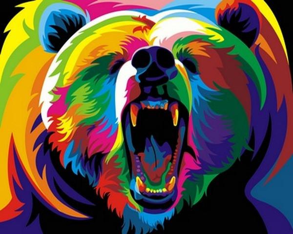 Картина по номерам  Радужный медведь. Худ. Ваю Ромдони, 40x50 см., Babylon
