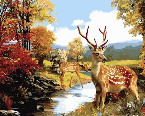 Картина по номерам Олени у ручья, 40x50 см., Babylon