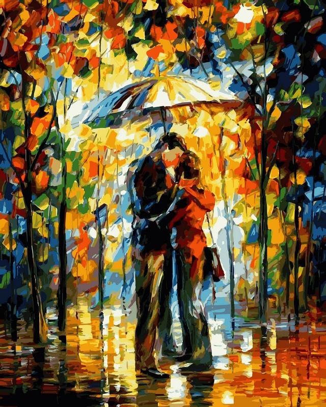 Картина по номерам Поцелуй под зонтом. Худ. Леонид Афремов, 40x50 см., Babylon