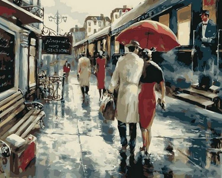 Картина по номерам  Прогулка под дождем , 40x50 см., Babylon