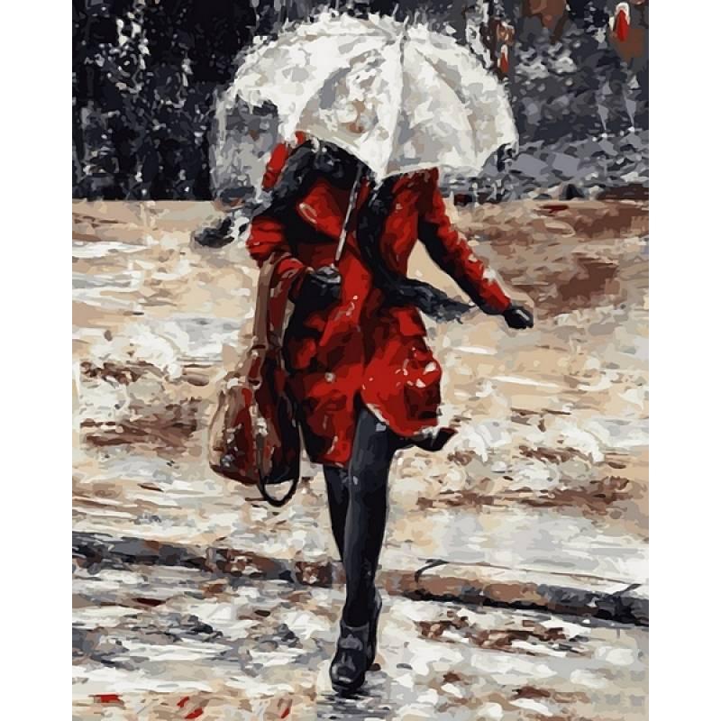 Картина по номерам  Девушка в красном пальто , 40x50 см., Babylon